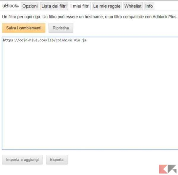 ublock filtro personalizzato chrome