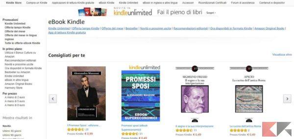 scaricare libri o ebook su Kindle