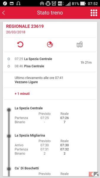 controllare ritardo treno