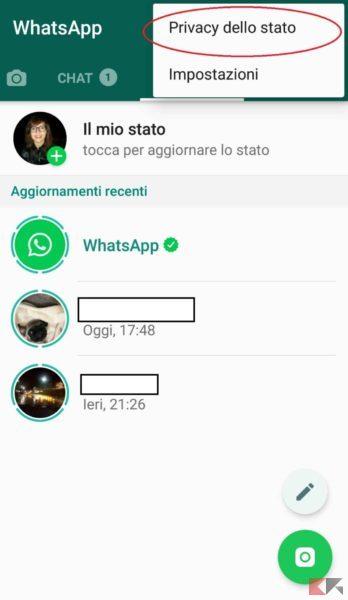 Nascondere stato whatsapp a un contatto