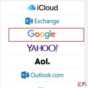 aggiungere account google ios 2