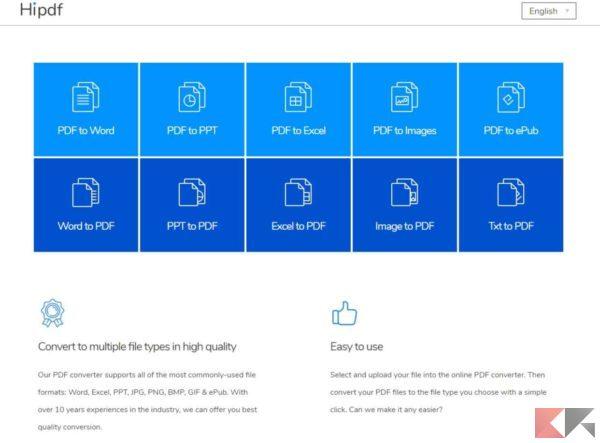 Hipdf: convertire PDF online in tanti formati e alta qualità!