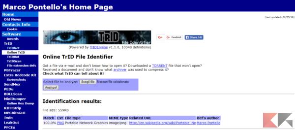 Online TrID File Identifier