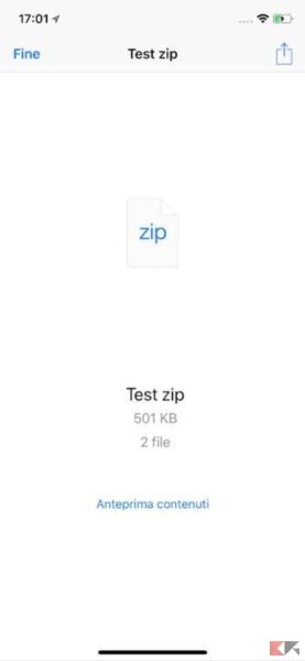 aprire file zip su iphone