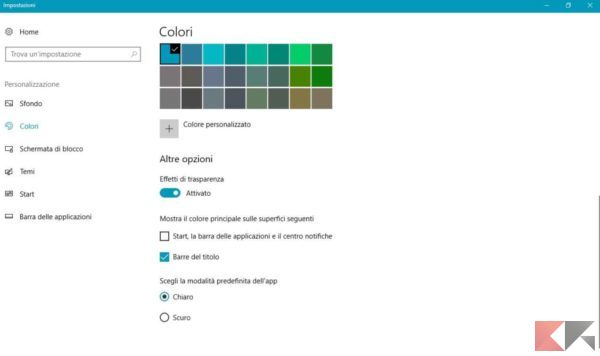 cambiare il menu Start di Windows 10