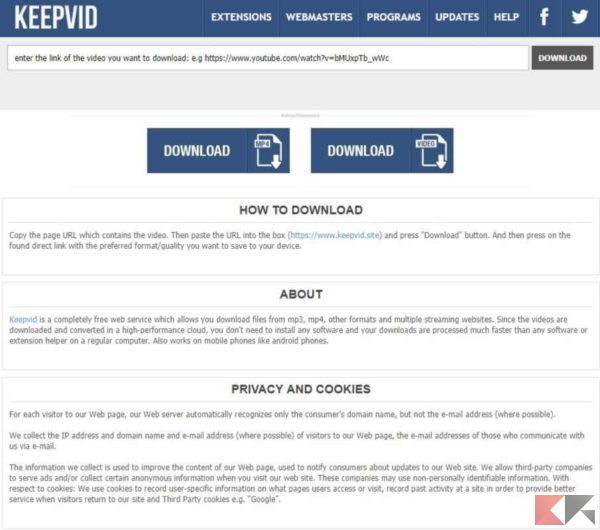 come scaricare video da Internet - Keepvid