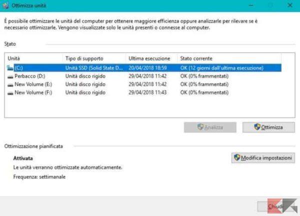 deframmentazione SSD Windows