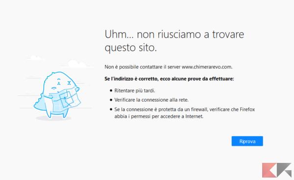 Errore di sito non raggiungibile (Firefox Quantum)