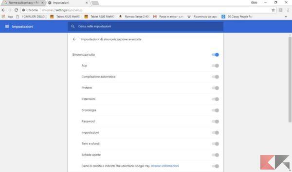 postare schede internet tra Android e PC