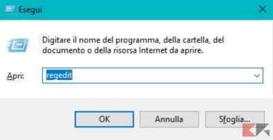 registro di sistema Windows 10