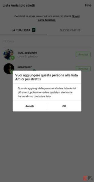 Lista Amici stretti Instagram