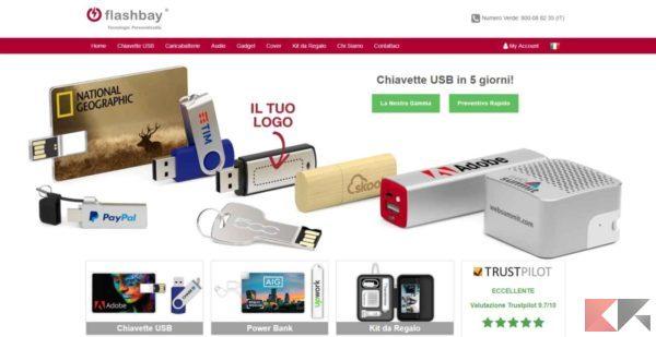 migliori siti per gadget personalizzati - flashbay