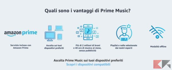 vantaggi prime music