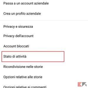 disattivare online instagram