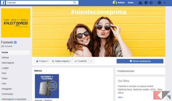 fastweb facebook