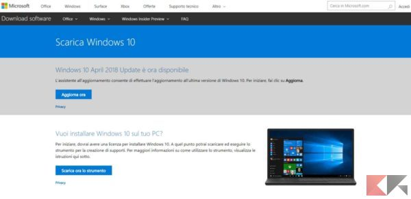 scaricare iso di windows 10 da link diretto - Windows