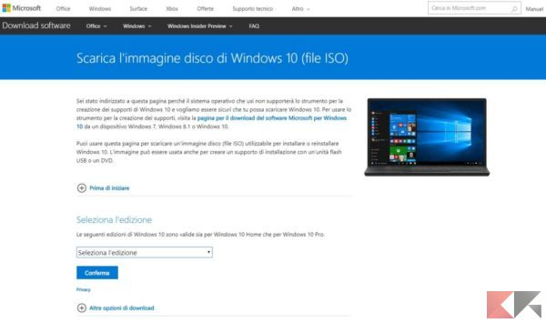 scaricare iso di windows 10 da link diretto - no Windows