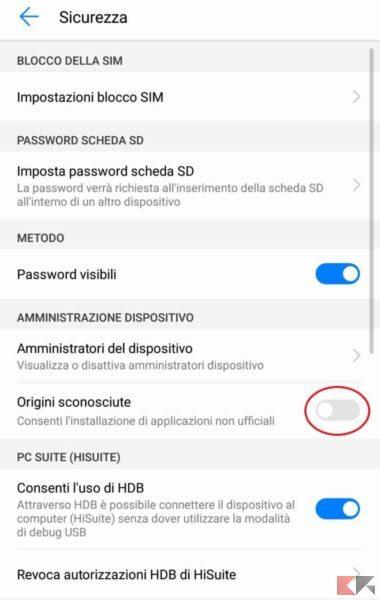 Impostazioni Huawei 2