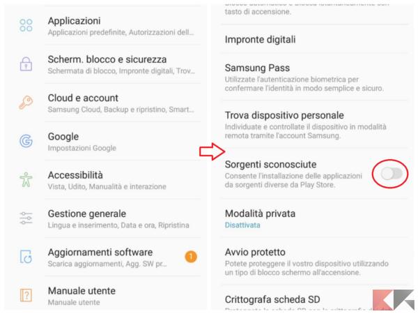 Impostazioni Samsung