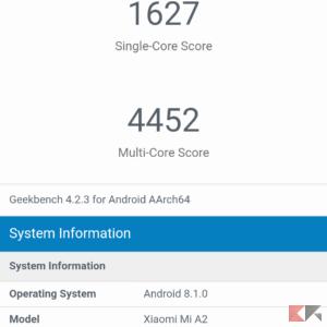 Xiaomi Mi A2 recensione Geekbench benchmark