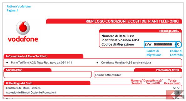 codice migrazione vodafone