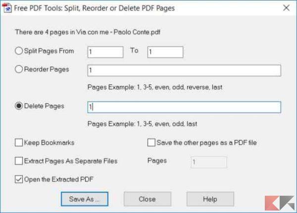 eliminare pagine da PDF PDFill 2