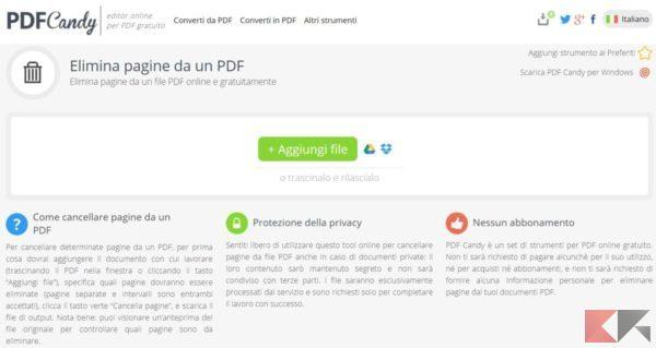 eliminare pagine da PDF pdfcandy 1