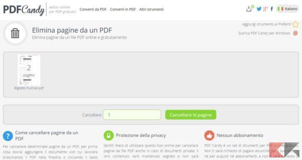 eliminare pagine da PDF pdfcandy 2