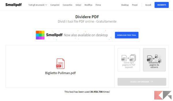 eliminare pagine da PDF smallpdf 1