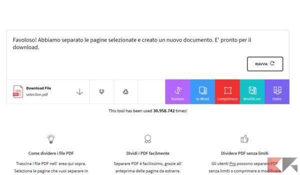 eliminare pagine da PDF smallpdf 3