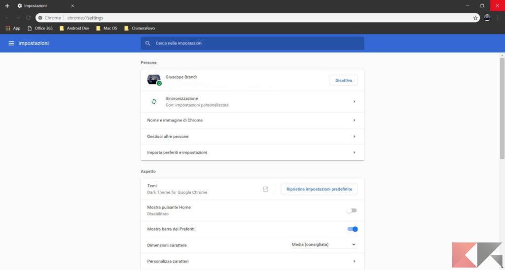 how to change google chrome to dark mode