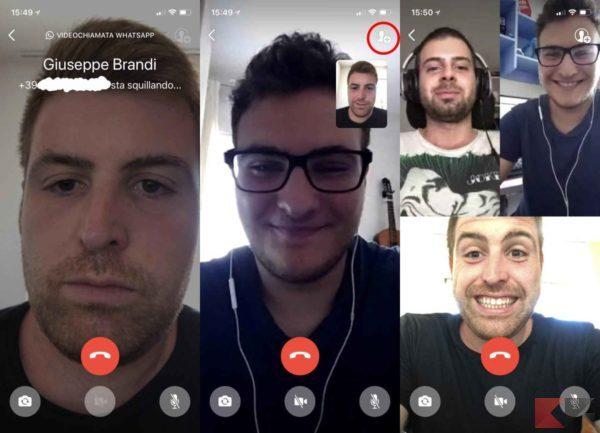 videochiamate di gruppo con WhatsApp ios