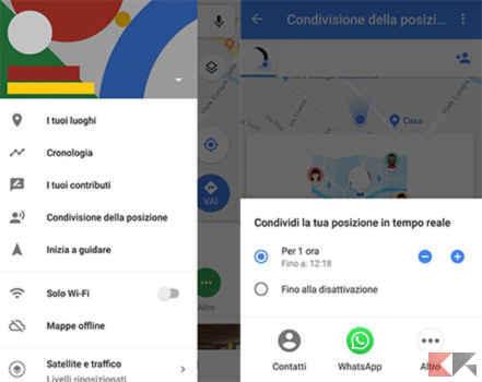 Condivisione posizione Google Maps app