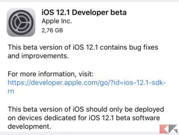 Rilasciate le prime beta di iOS 12.1, watchOS 5.1 e tvOS 12.