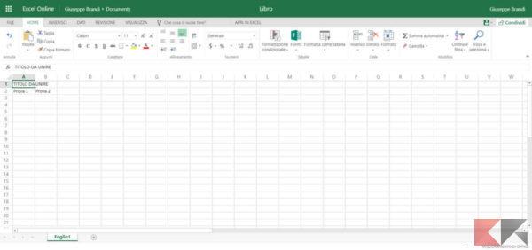 Unire celle Excel Online