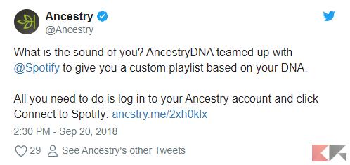 Ancestry personalizza playlist Spotify per $99 e uno sputo