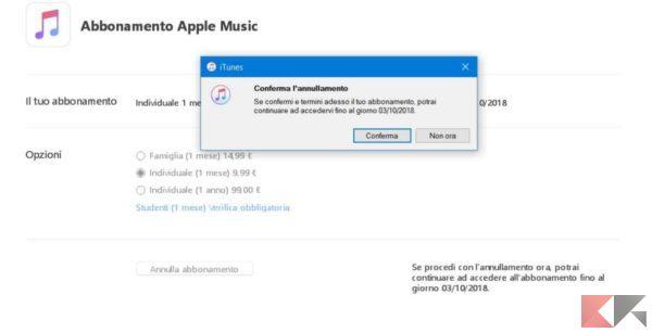 annullare abbonamento apple music