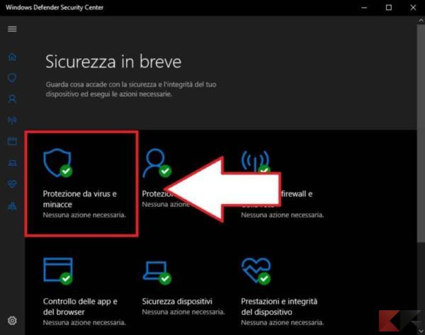 come disattivare l'antivirus su Windows 10