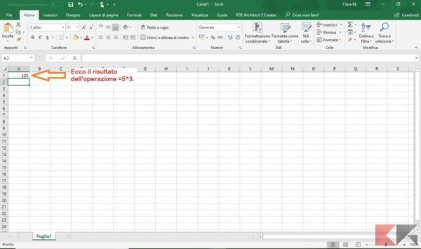 come elevare a potenza su Excel