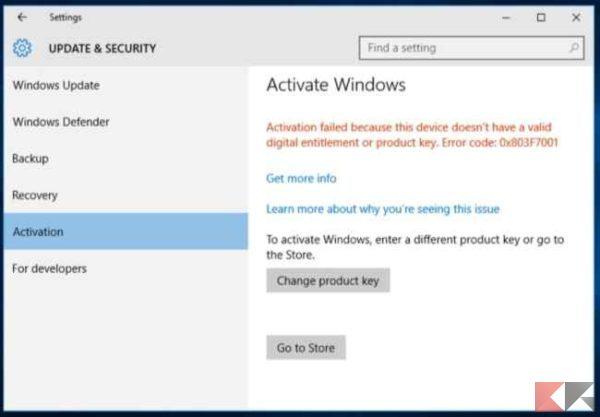 copia windows non autenticata