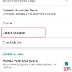 disabilitare backup whatsapp android 3