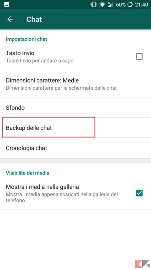 disabilitare backup whatsapp android 3
