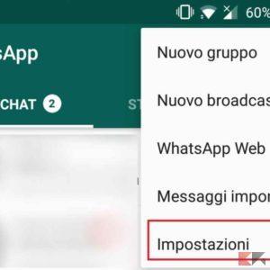 disabilitare backup whatsapp android