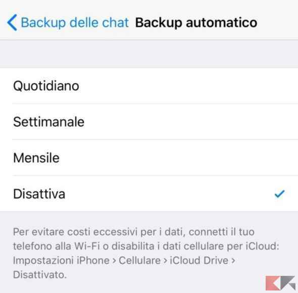 disabilitare backup whatsapp iphone