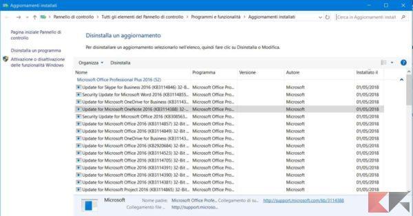 eliminare aggiornamento windows