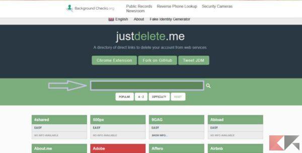 eliminare registrazioni dai siti web