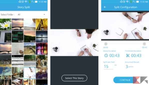 fare storie instagram continue - video splitter