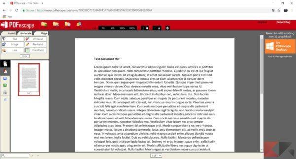 modificare testo pdf pdfescape 2
