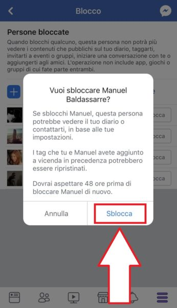 Come sbloccare una persona su Facebook da iPhone e iPad