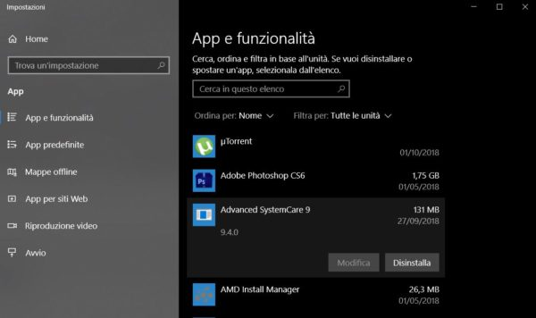 eliminare app windows